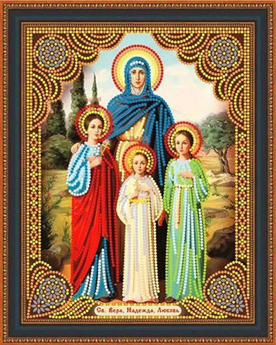 Алмазная мозаика частичная 27x33 Икона Вера Надежда Любовь и мать их София