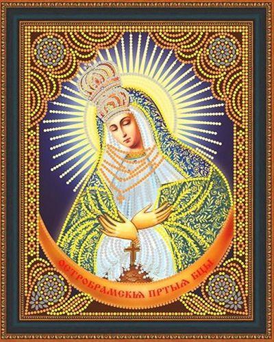 Алмазная мозаика частичная 27x33 Икона Остробрамская Божией матери