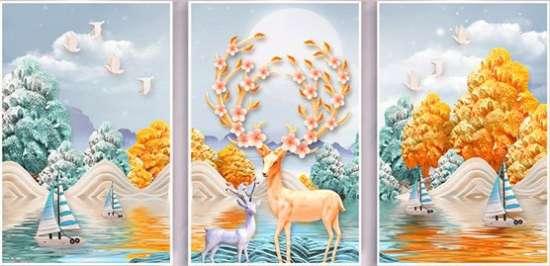 Алмазная мозаика триптих 40x50 Озеро с парусниками и олени