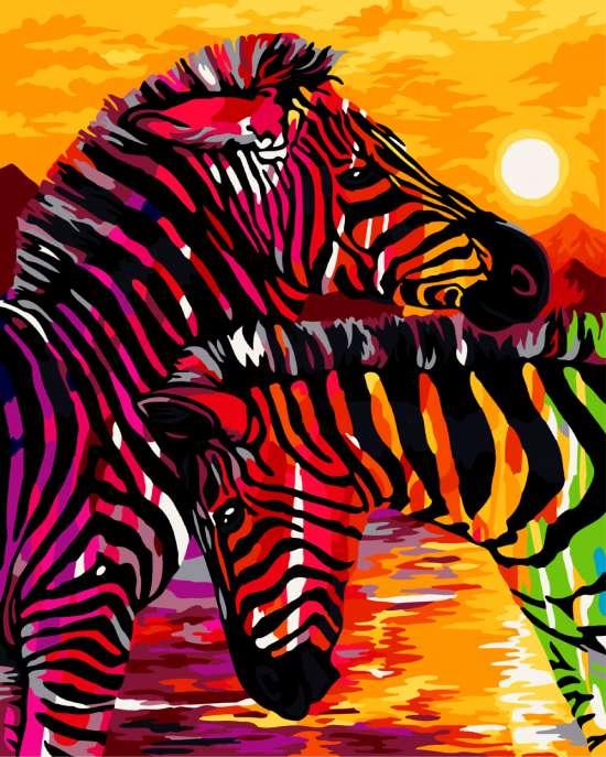 Картина по номерам 40x50 Яркая пара зебр на закате