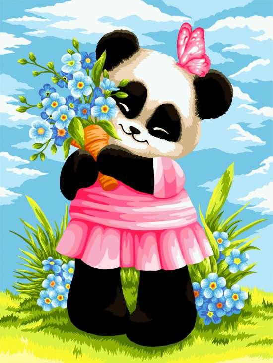Картина по номерам 30x40 Милая панда с цветочками