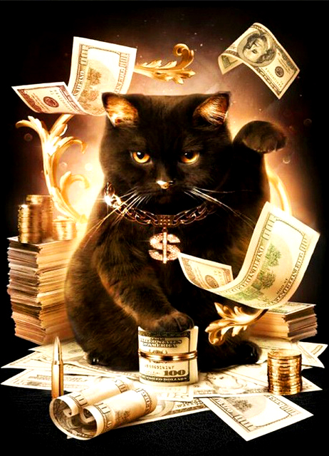 Алмазная мозаика 40x50 Черный кот и деньги