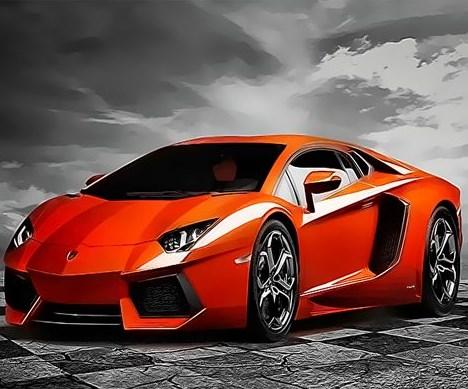 Картина по номерам 40x50 Красно-оранжевый ламборджини