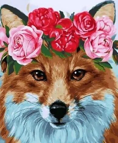 Картина по номерам 20x30 Лиса с розочками на голове