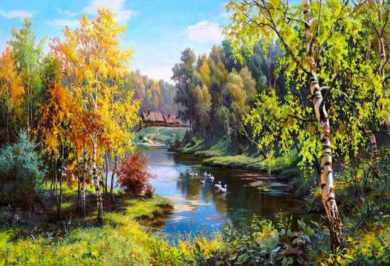 Картина по номерам 40x50 Осенний пейзаж у реки